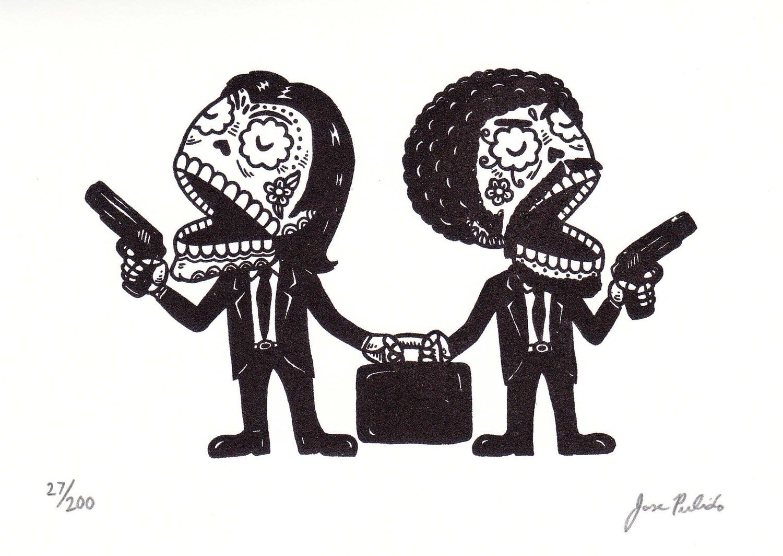 Pulp Fiction Sugar Skulls by Jose Pulido   I am Todd